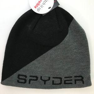 SPYDER Reversible Black/Gray Beanie NWT
